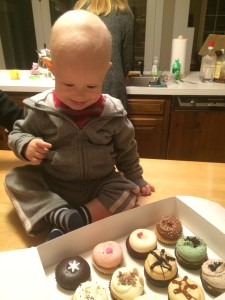 Mac eyeing the cupcakes!