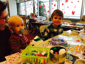 Mac & JB doing crafts at chemo