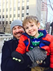 Brandon and JB freezing in Boston